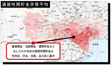 東京都の通貨性預貯金(普通預金・当座預金・通常貯金など)世帯平均の分布
