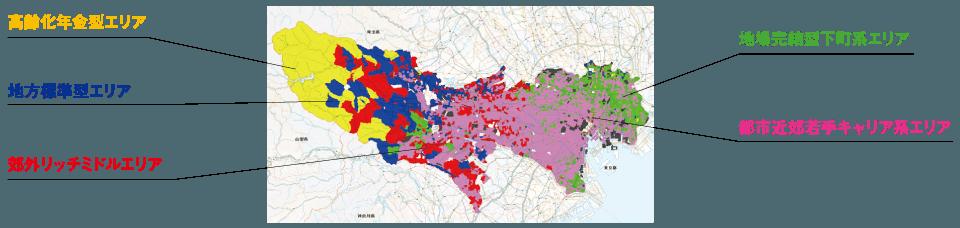 東京都をクラスター分析しエリアを色分けした結果