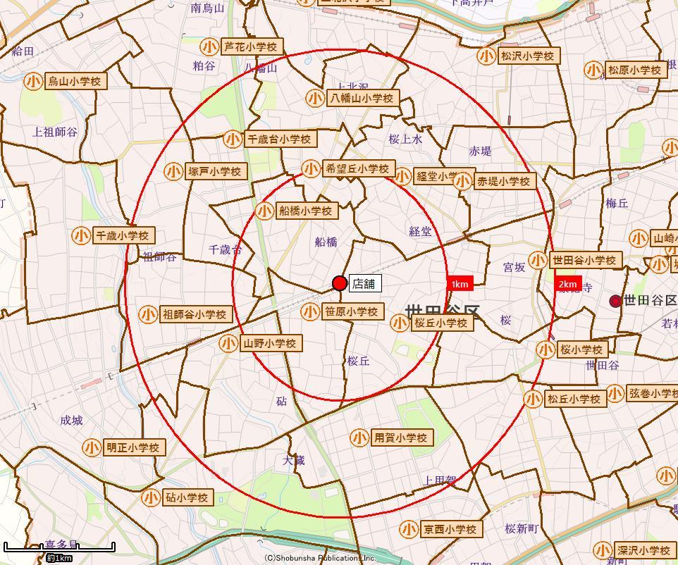 小学校区境界付近の詳細表示