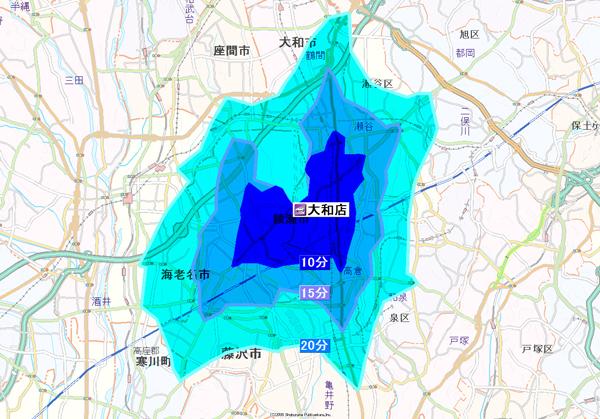 画像:時間圏商圏(自動車・自転車・徒歩)