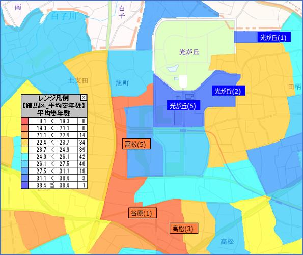 GISエリアマーケティングツールによる築年数データの抽出イメージ